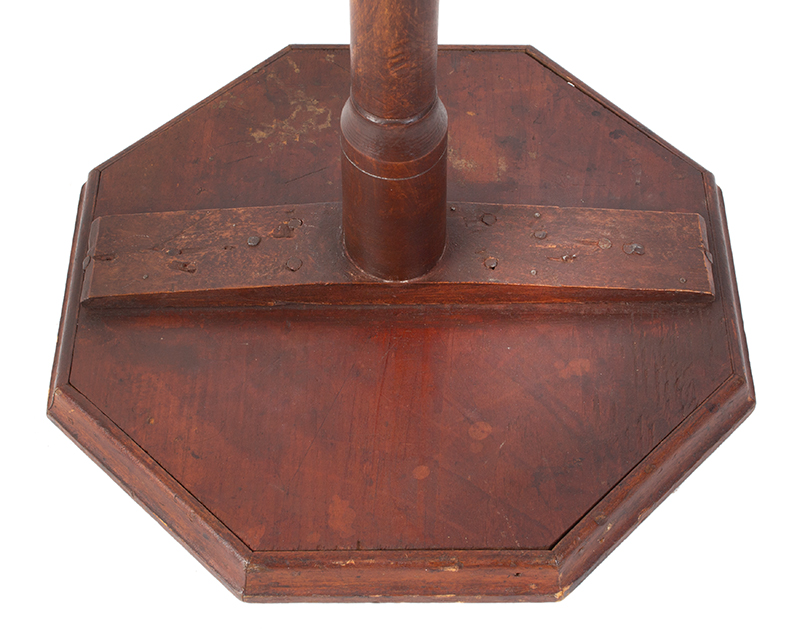 Early Country Queen Anne Candlestand, Historic Surface, Diminutive New England, underside view