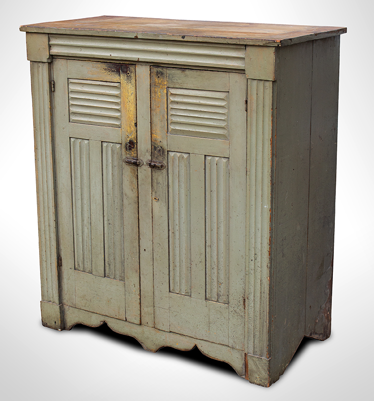 Antique Jelly Cupboard, Molded, Good painted Surface New York, Possibly Mohawk Valley, entire view 3