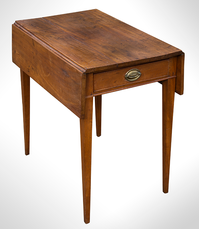 Southern Pembroke Table, Drop Leaf with Drawer, Original Brass, entire view 1