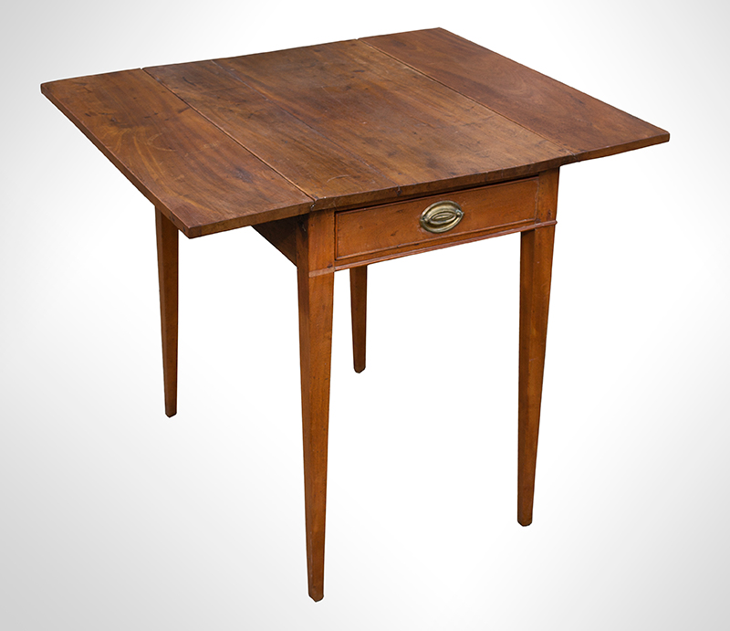 Southern Pembroke Table, Drop Leaf with Drawer, Original Brass, entire view 2