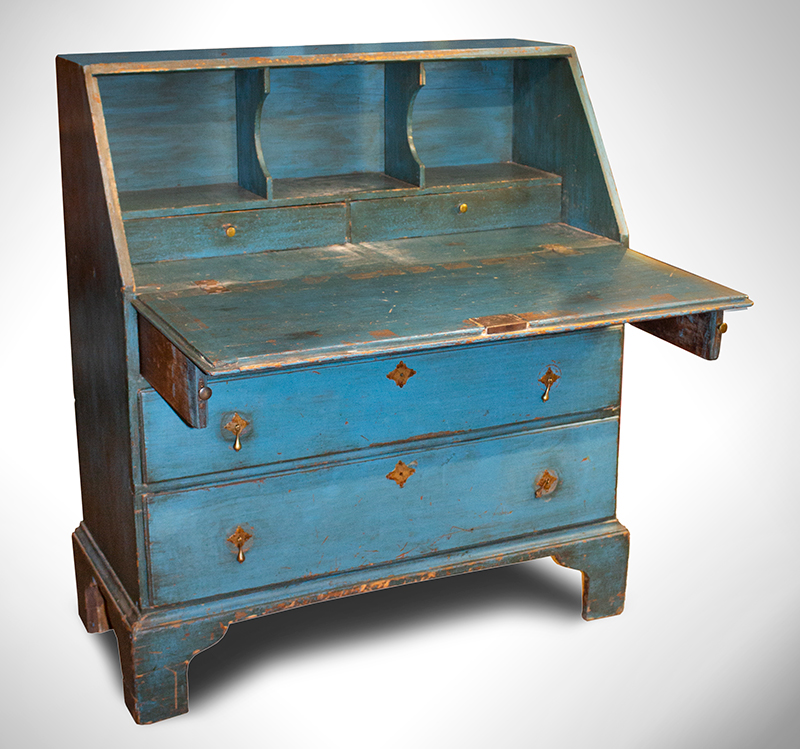 Slant Lid Desk in BLUE Paint, Historic Surface, 36-Inches Wide, Rosehead Nails Found in Wolfeboro, New Hampshire, entire view
