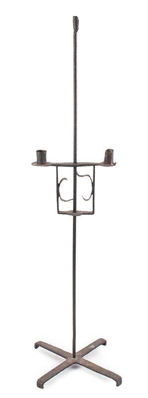 Candlestand, Wrought Iron, Floor Standing, Three Sockets, Flambeau, entire view