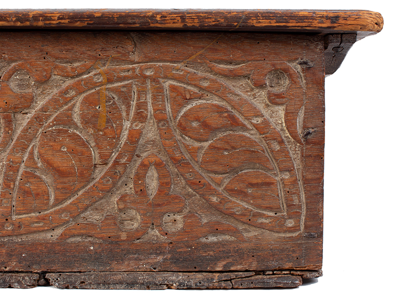 A Carved Pilgrim Period Bible Box, Windsor Area, Connecticut, detail 3