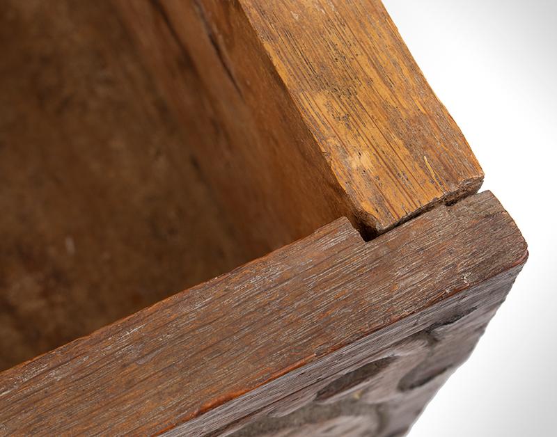 A Carved Pilgrim Period Bible Box, Windsor Area, Connecticut, detail 8