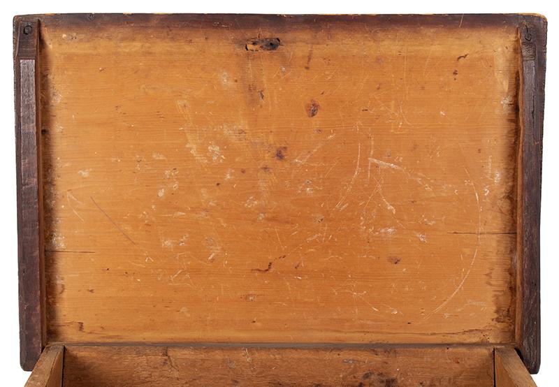 A Carved Pilgrim Period Bible Box, Windsor Area, Connecticut, top underside