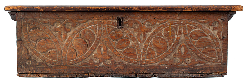 A Carved Pilgrim Period Bible Box, Windsor Area, Connecticut, entire view 1