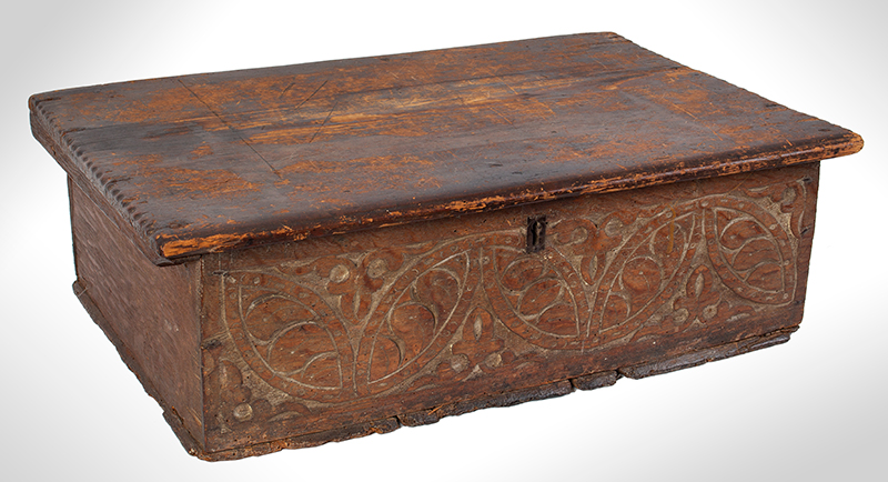 A Carved Pilgrim Period Bible Box, Windsor Area, Connecticut, entire view 2