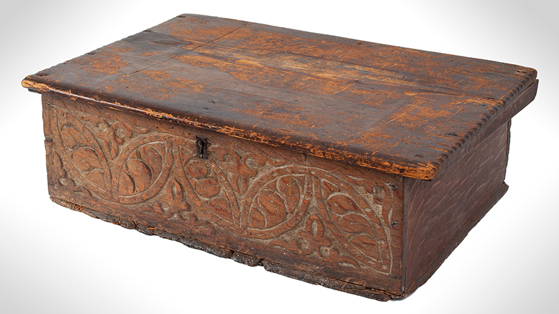 A Carved Pilgrim Period Bible Box, Windsor Area, Connecticut, entire view 3