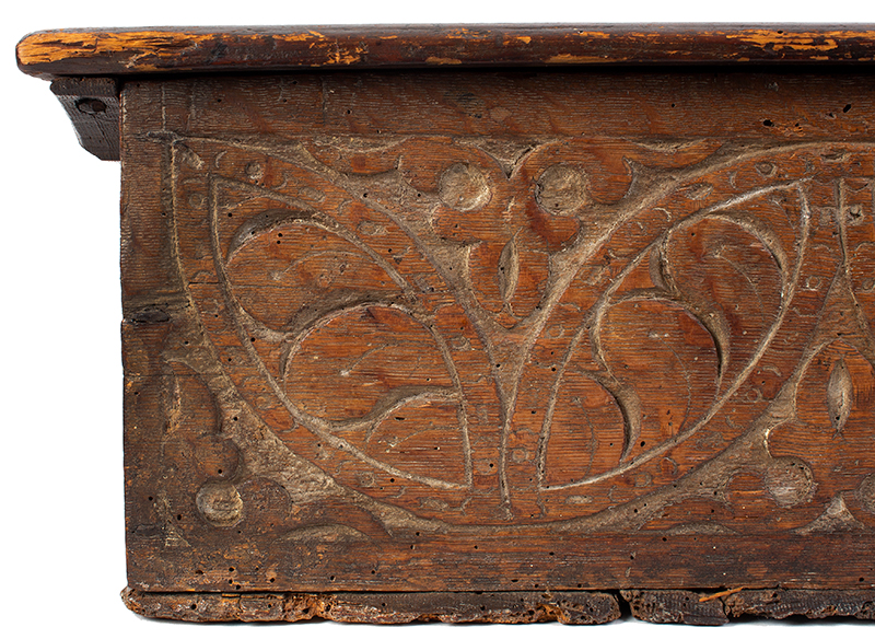 A Carved Pilgrim Period Bible Box, Windsor Area, Connecticut, detail 1