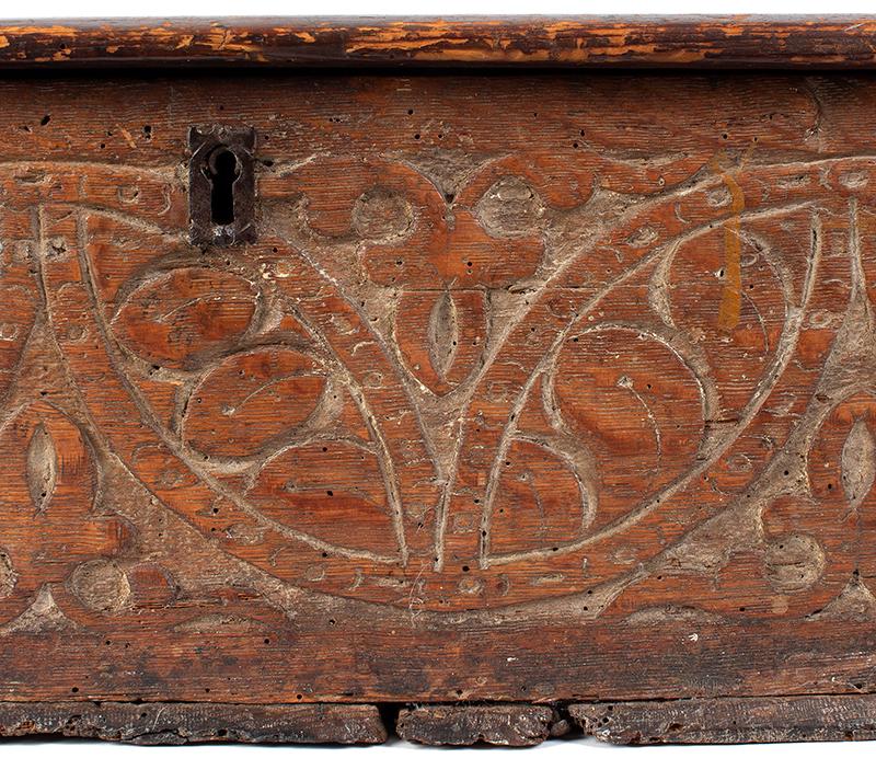 A Carved Pilgrim Period Bible Box, Windsor Area, Connecticut, detail 2