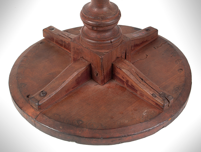Candlestand, X-Base, Red Paint, Pennsylvania, underside
