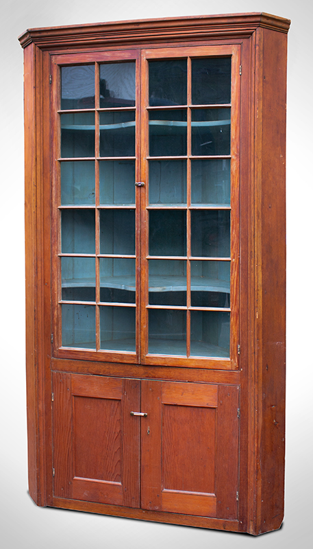 18th Century Corner Cupboard, 24 Lights, Blue Painted Interior Found years ago, in the Mohawk Valley of New York, entire view 1