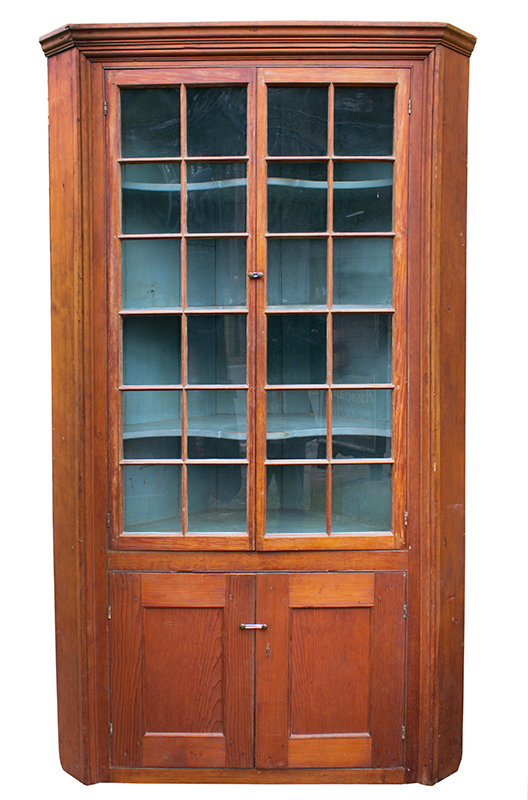 18th Century Corner Cupboard, 24 Lights, Blue Painted Interior Found years ago, in the Mohawk Valley of New York, entire view 2