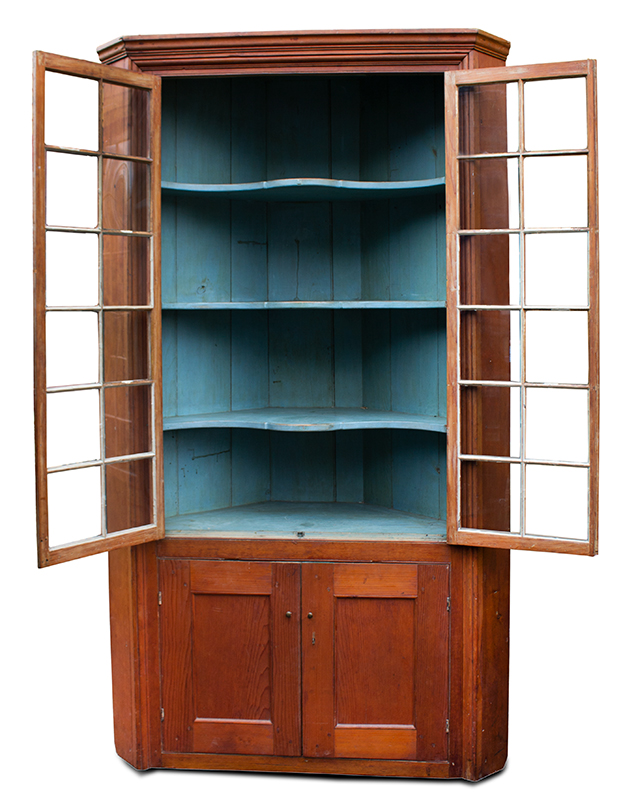 18th Century Corner Cupboard, 24 Lights, Blue Painted Interior Found years ago, in the Mohawk Valley of New York, entire view 3