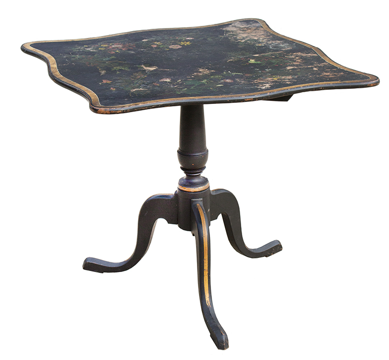 Tiptop Breakfast or Tea Table, Serpentine Top, Paint Decorated New England, entire view 2