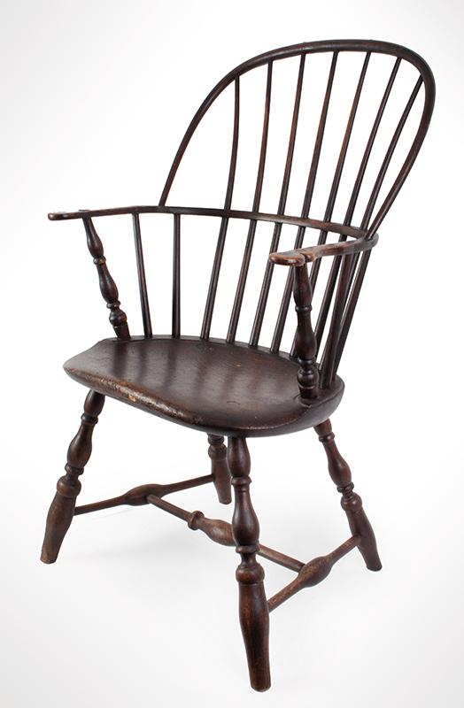 Antique, Windsor Sack Back Armchair, Rhode Island, entire view 2