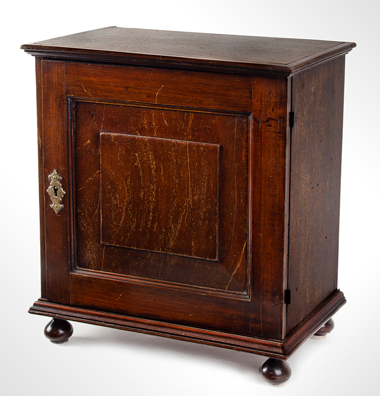 18th Century Spice Cabinet, Cupboard on Ball Feet, Walnut, England, entire view 3