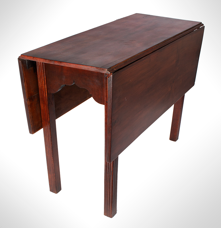 18th Century Chippendale Table, Square Molded Legs, Great Color, entire view 3