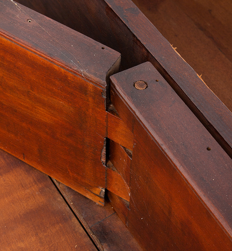 18th Century Chippendale Table, Square Molded Legs, Great Color, detail view 1