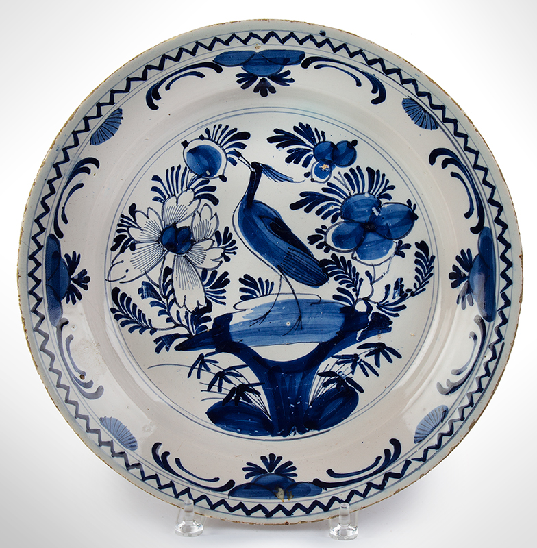 Delft Charger, Blue and White, Bird & Flower Design, entire view