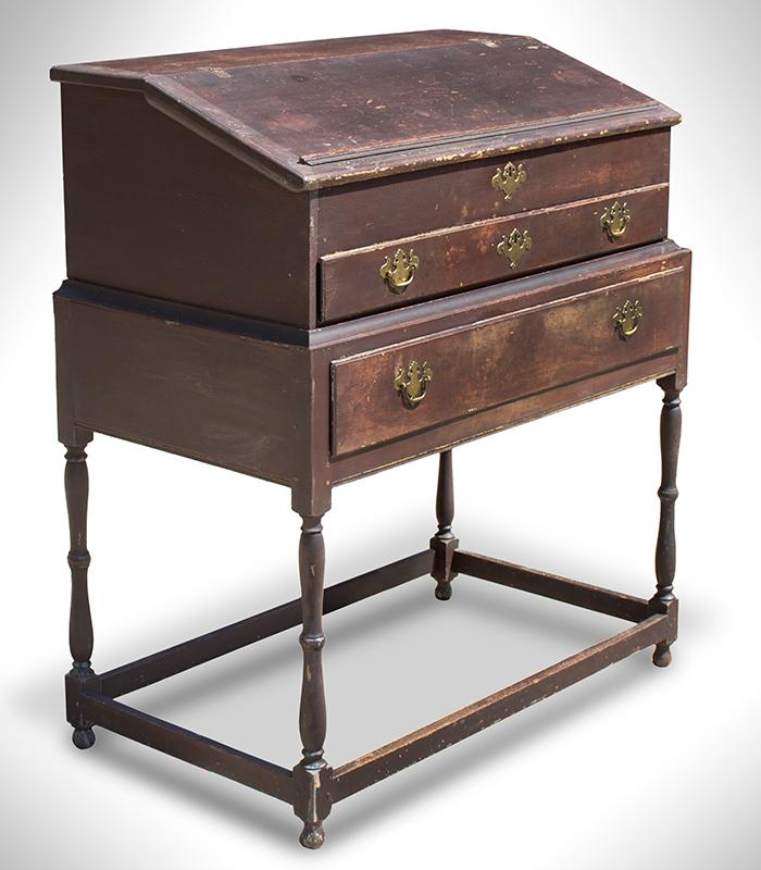 Clerk's Desk, Stand-Up, New England, Brown Paint, Original Brass Hardware, entire view 2