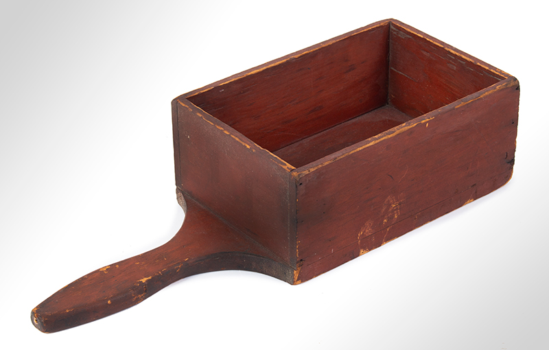 Offering Box, Church Collection Box, Original Red paint, Dry Patina American, entire view 1