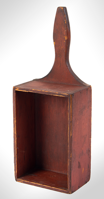 Offering Box, Church Collection Box, Original Red paint, Dry Patina American, entire view 2