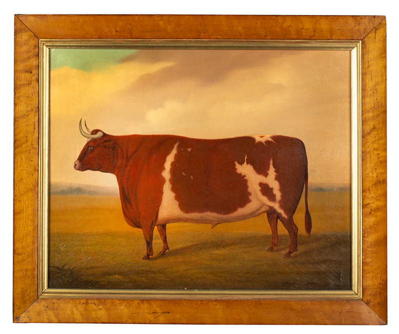 Painting, Prized Bull, From Iowa Collection Signed and dated on verso, Joe Jo____S. 1864, entire view