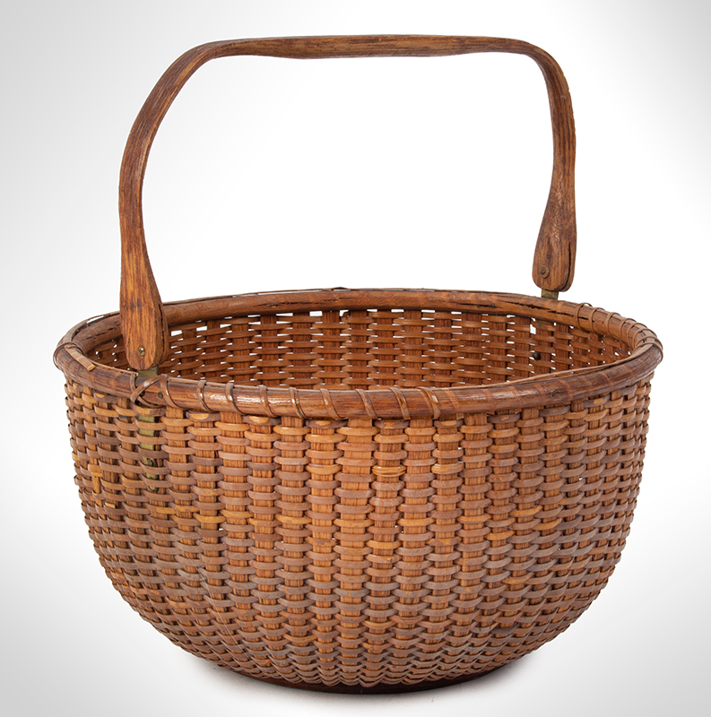 """Nantucket Lightship Basket, Labeled – Mitchell Ray, Swing Handle, Round Clinton Mitchell """"Mitchy"""" Ray (1877-1956), entire view 1"""