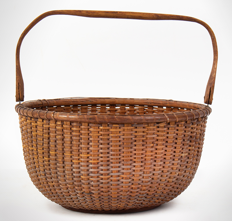 """Nantucket Lightship Basket, Labeled – Mitchell Ray, Swing Handle, Round Clinton Mitchell """"Mitchy"""" Ray (1877-1956), entire view 2"""