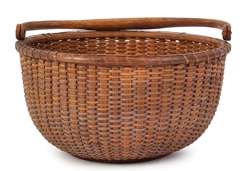 """Nantucket Lightship Basket, Labeled – Mitchell Ray, Swing Handle, Round Clinton Mitchell """"Mitchy"""" Ray (1877-1956), entire view 3"""