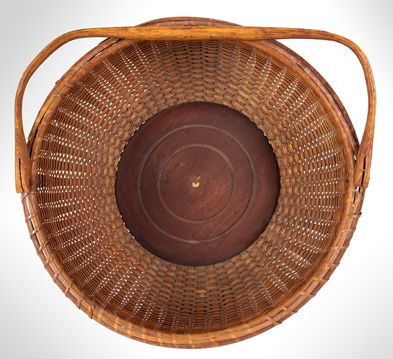 """Nantucket Lightship Basket, Labeled – Mitchell Ray, Swing Handle, Round Clinton Mitchell """"Mitchy"""" Ray (1877-1956), interior"""