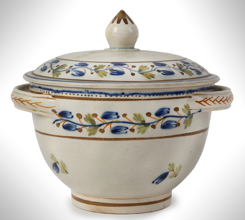 Pearlware, Sugar Bowl and lid, Foliate Decorated, England, entire view 1
