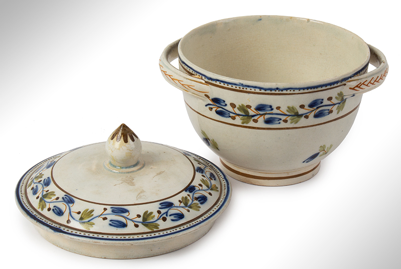 Pearlware, Sugar Bowl and lid, Foliate Decorated, England, entire view 2