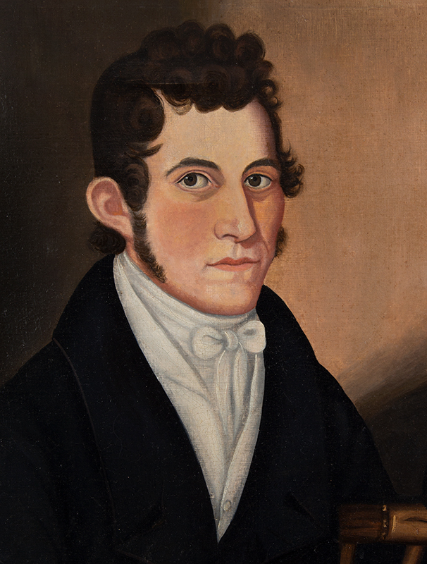 Folk Art portrait, Handsome Gentleman Seated in paint Decorated Windsor Chair, detail view