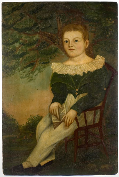 Folk Art Portrait, Boy Holding Book Seated in Chair, Landscaped Background Possibly New York State, entire view 1