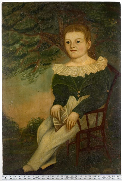 Folk Art Portrait, Boy Holding Book Seated in Chair, Landscaped Background Possibly New York State, entire view 2