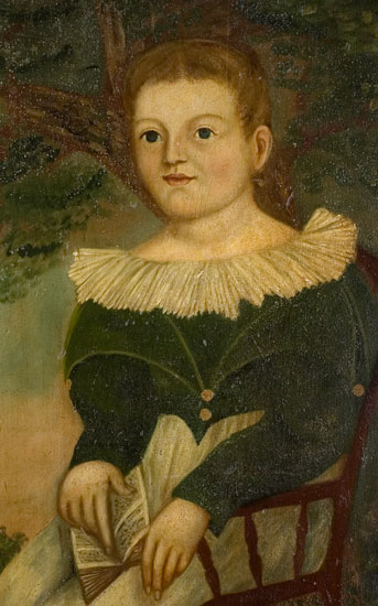 Folk Art Portrait, Boy Holding Book Seated in Chair, Landscaped Background Possibly New York State, entire view 3