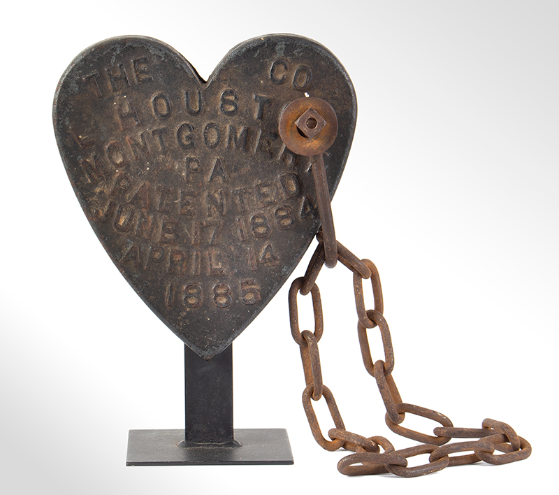 Cast Iron Heart, Swing Saw Counterweight, L. Houston Co., Montgomery, PA, entire view