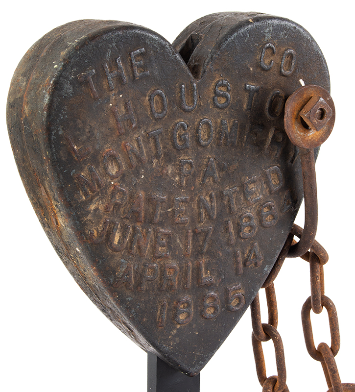 Cast Iron Heart, Swing Saw Counterweight, L. Houston Co., Montgomery, PA, entire view 4