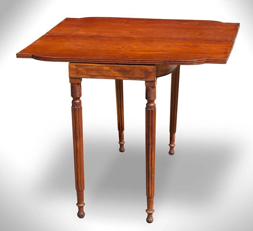 Federal Games Table, Card Table, Reeded Fold-over Top New England, Possibly Connecticut, entire view 2