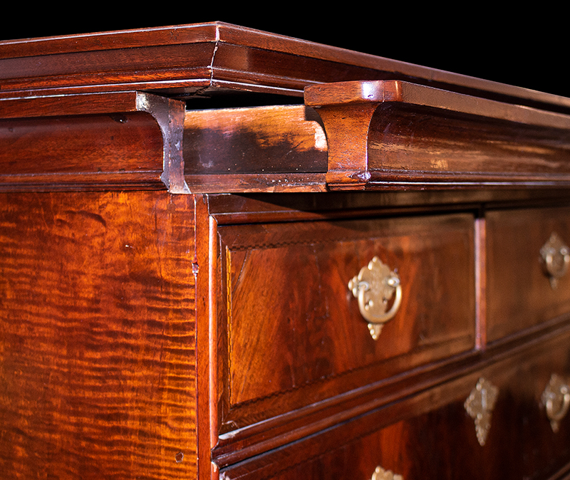 Queen Anne Highboy, Molded Cornice with Drawer, Diminutive Massachusetts, Boston, detail view 1