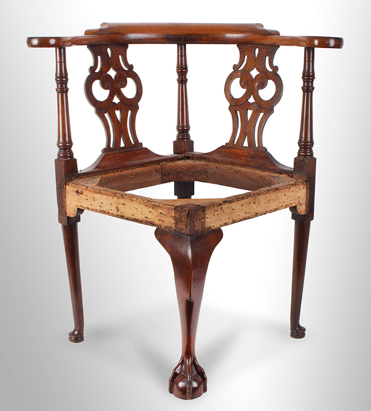 Chippendale Corner Chair, Ball & Claw Cabriole Front Leg Massachusetts, likely Boston, or Salem, entire view 1
