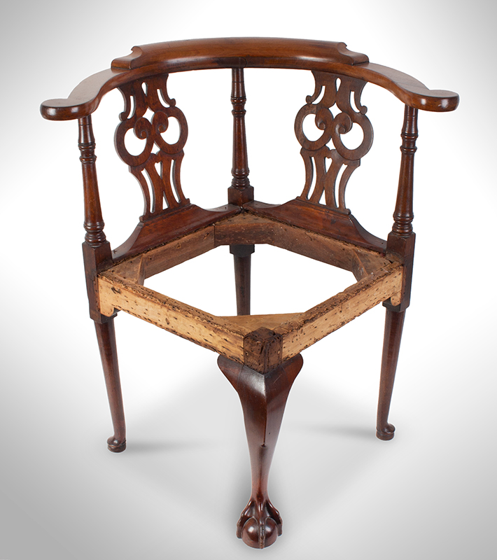 Chippendale Corner Chair, Ball & Claw Cabriole Front Leg Massachusetts, likely Boston, or Salem, entire view 2