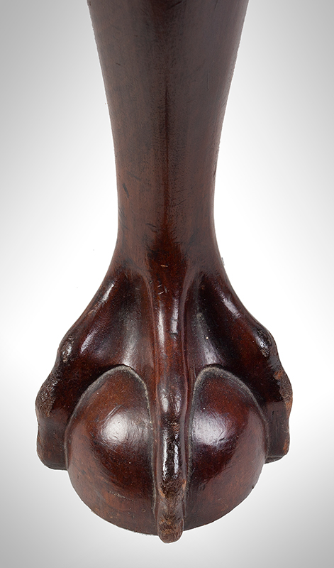 Chippendale Corner Chair, Ball & Claw Cabriole Front Leg Massachusetts, likely Boston, or Salem, foot view