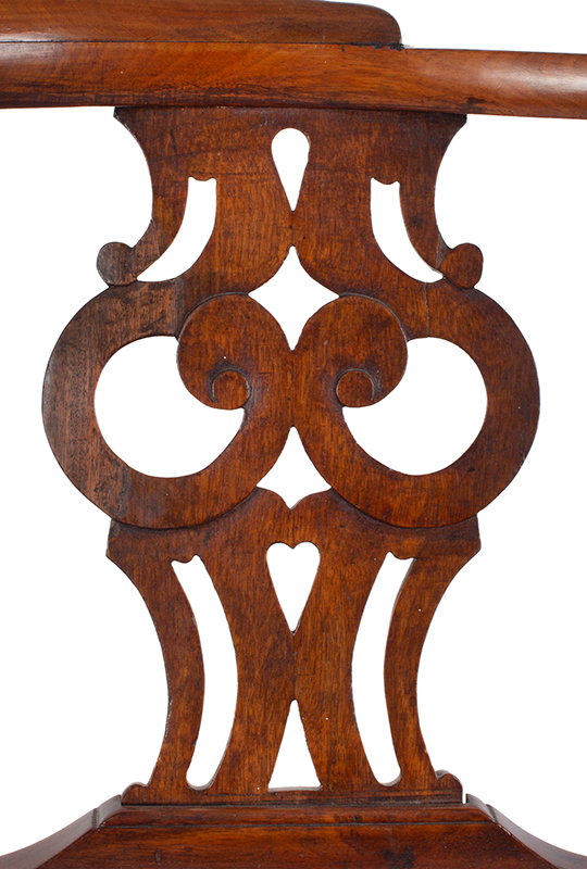 Chippendale Corner Chair, Ball & Claw Cabriole Front Leg Massachusetts, likely Boston, or Salem, detail view