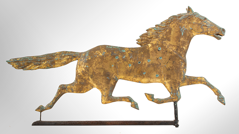 Antique Weathervane, Full-bodied Running Horse, entire view