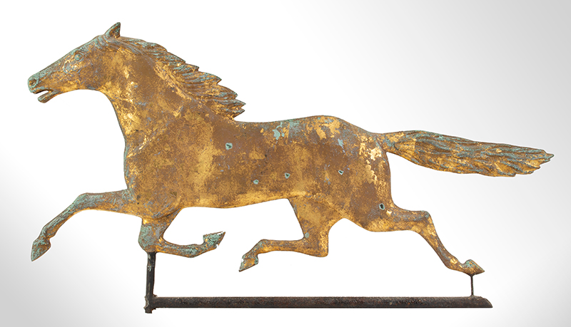 Antique Weathervane, Full-bodied Running Horse, entire view 2