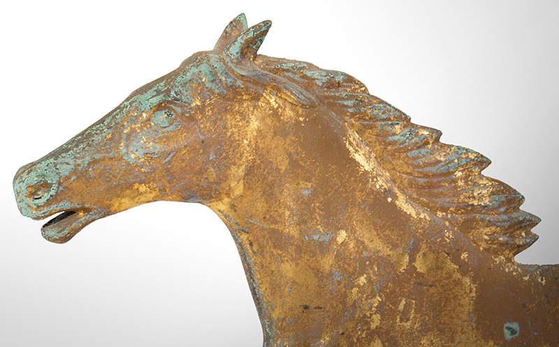 Antique Weathervane, Full-bodied Running Horse, head facing left