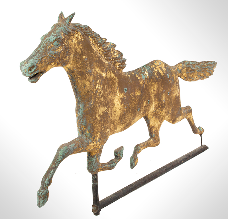 Antique Weathervane, Full-bodied Running Horse, entire view 3